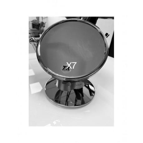 Miroir Grossissant x7 Double Face sur pied Chromé  19 cm de Diamètre