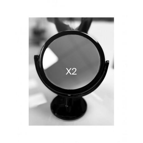 Miroir Blanc Grossissant x5 Double Face sur pied 14 cm de Diamètre