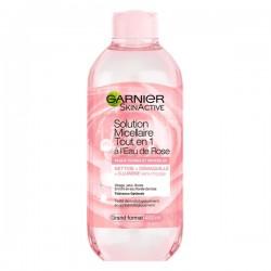 Garnier Skin Active - Solution Micellaire à l'Eau de Rose Tout-En-1 - Peaux Ternes et Sensibles - Grand Format 400 ml